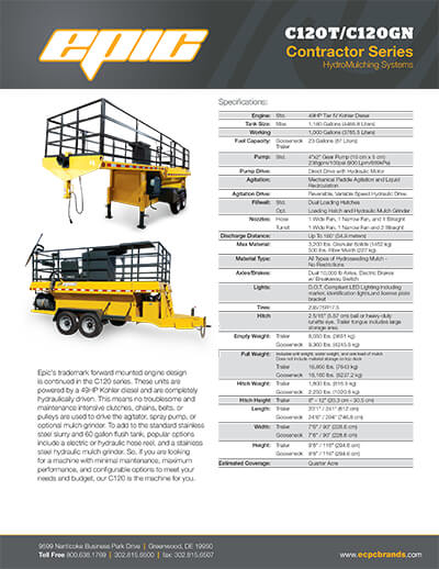 2445_epic-c120t-c120gn-specsheet Pull-Behind HydroSeeder | 1000 Gallon | Epic Manufacturing