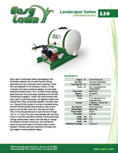 2054_ez-lawn-l10-specsheet Small Hydroseeder For Sale | L10 | 100 Gallon Tank | Jet Agitation