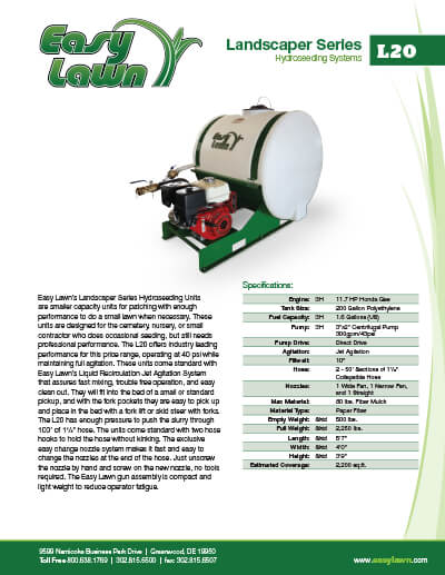 2057_ez-lawn-l20-specsheet Residential Hydroseeding Equipment For Sale | L20 | Epic Manufacturing