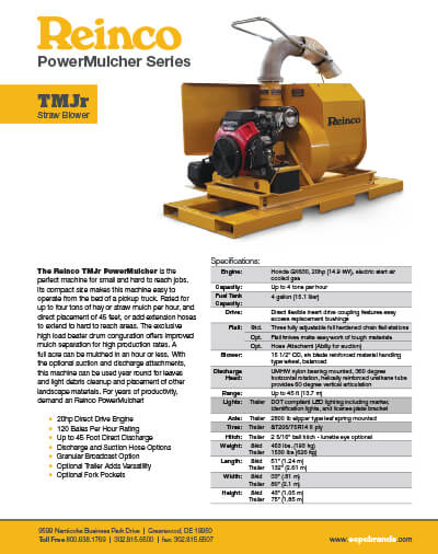 2374_reinco-tmjr-specsheet Powermulcher For Sale |TMJr | Perfect For Small Hydromulching Jobs